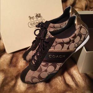 Coach Metallic Signature Suede & Canvas Sneakers 9